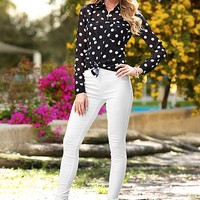 Women's Polka dot blouse, jeggings
