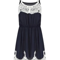 Navy Cami Dress With Crochet Lace Insert