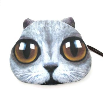 Grey Kitty Cat Face with Huge Eyes Shaped Soft Fabric Zipper Coin Purse Make Up Bag