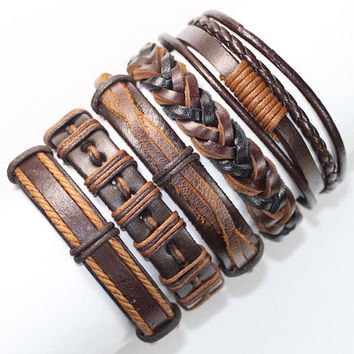 5 Piece Handmade Leather Bracelet Set Leather and Hemp Friendship Braclet USA Seller Item # BST-184