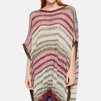 Women's Two by Vince Camuto Marled Intarsia Stripe Poncho,