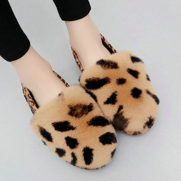 Winter Leather Rabbit Flat Shoes [10486507412]