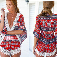 Bohemian Lace V-Neck Cut Long-Sleeve A-Line Romper - White/Blue/Red