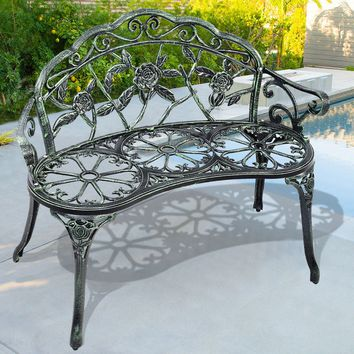 Patio Garden Bench Chair Style Porch Cast Aluminum Outdoor Rose Antique Green