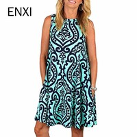 ENXI Summer Floral Maternity Dresses Sleeveless Pregnancy Dress For Pregnant Women Daily Wearing Maternity Clothes