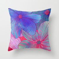 Between the Lines 2 - tropical flowers in purple, pink, blue & orange Throw Pillow by micklyn
