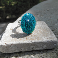 Bella Ring covered with Swarovski Crystals, Blue Zircon, blue, green, teal ring, beautiful, spring, summer, oval ring, bella, jewelry