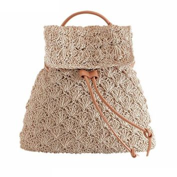 Drawstring Hollow Out  Straw Knitted Tote Bag