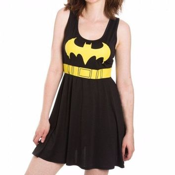 Batman Logo A Line Scoop Neck DC Comics Black Dress