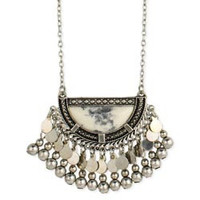 Silver & White Stone Half Circle Long Necklace