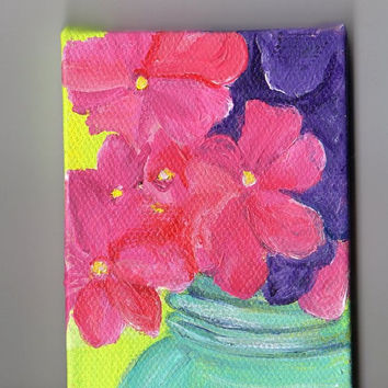 Pink and  Purple  Hydrangeas in Canning Jar  original  mini painting on Canvas with Easel