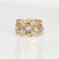 Leaf, Opal, Diamond, and Pearl Stacking Ring Set of 7 - 14k Gold Stack Rings