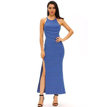 Blue White Stripes Maxi Dress with Side Slit