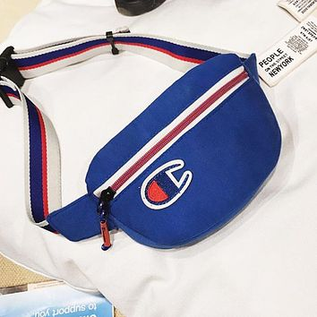 Champion Fashion New Embroidery Logo Shoulder Bag Shopping Leisure Waist Bag Blue