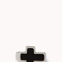 FOREVER 21 Burnished Cross Ring Silver/Black