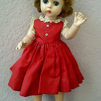 Vintage LISSY Madame Alexander Doll with Original Red Clothing
