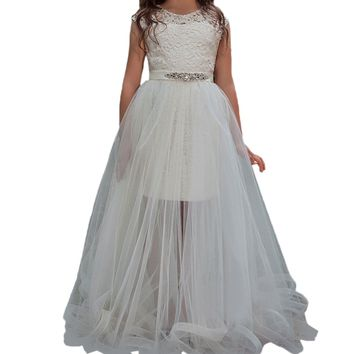 High Quality Custom Made Removable Skirt Two Piece Flower Girl Dress White First Communion Gown