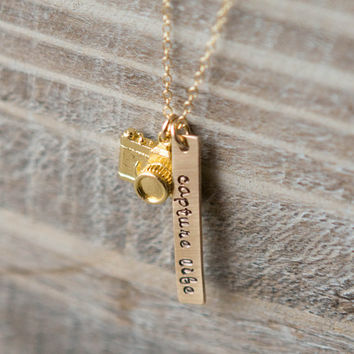 Gold Camera Necklace - Hand Stamped Capture Life Photography Necklace