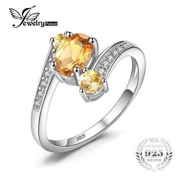 JewelryPalace 925 Sterling Silver 0.9ct Natural Citrine 3 Stone Anniversary RingWomen Party Fine Jewelry 2016 Brand New