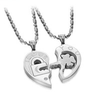 Men's Women's Couple Stainless Steel Love locks Heart Puzzle Pendant Necklace, couple necklace , great gift for lovers = 1930202692