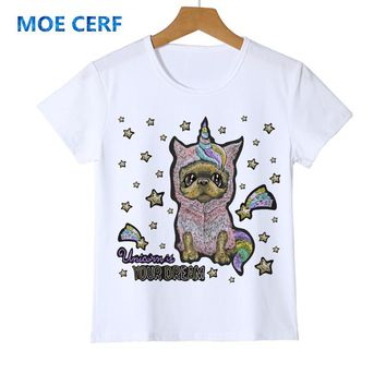 New Summer Colored Stars Cute Unicorn T Shirts Kid Funny Dog Unicorg Letter child Printed White Boy Girl Tops Y14-103