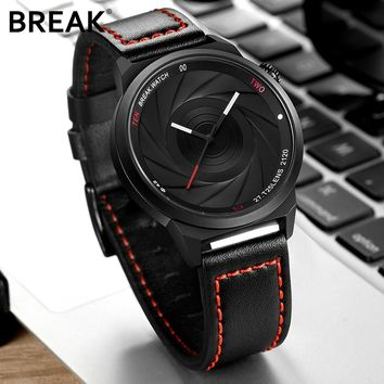 BREAK men unisex unique camera style stainless rubber band casual fashion sport quartz wristwatch modern gift watch for women