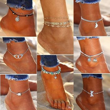 Crystal Sequins Anklet Set for Women Beach Foot Jewelry Vintage Statement Elephant Moon Chain Charm Anklets Bracelet Boho Retro