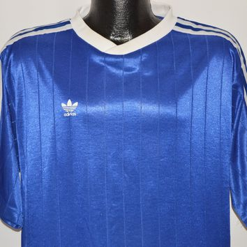 90s Adidas Blue White Striped Soccer Jersey Extra Large