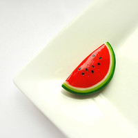 Watermelon Red Brooch, summer pin-up jewelry