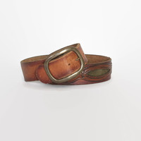 Vintage 70s Tooled Leather BELT / 1970s Green Suede & Brown Leather Brass Buckle Unisex Belt 30