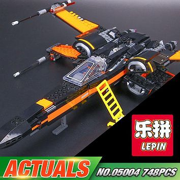 New LEPIN 05004 Star Series War The First Order X Model Wing Fighter 75102 Building Blocks Compatible with Educational Toy