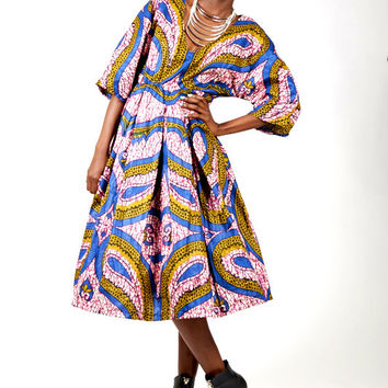 Joyce Mid - Length V Neck Cut African Print Pleated Printed Dress