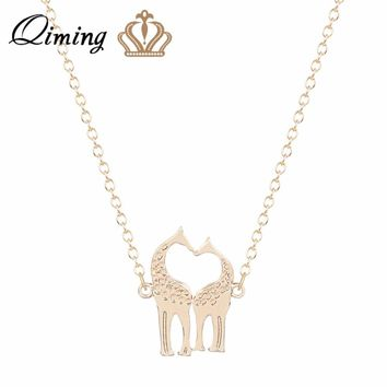 QIMING Gold Giraffe Pendant Necklace For Women Sweet Jewelry Girls Lovely Animal Necklaces Baby Jewelry Collier Gift