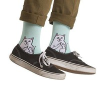 Rude Kitty Cat Giving the Finger Print Long Socks for Women in Mint Blue