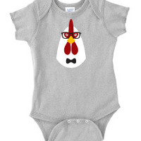 Hipster Chicken Baby One Piece