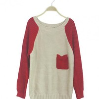 Red Long Sleeve Sweater with the Pocket$40.00