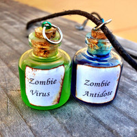 Zombie Virus and Antidote Friendship Necklace Set (Free Shipping To USA)