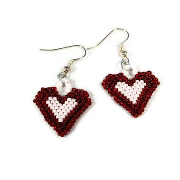 Brick Stitch Beaded Red and White Heart Earrings