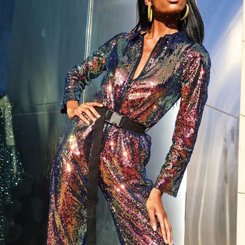 Life of the Party Iridescent Sequin Jumpsuit