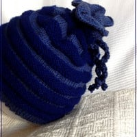 blue warm knitted hat for children