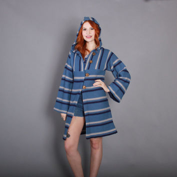 70s HOODED Blue Striped CARDIGAN / 1970s Bell Sleeve Boho Sweater Coat with Hood