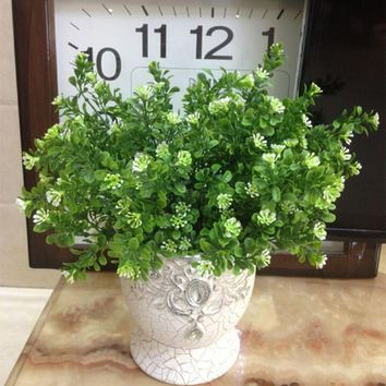 Rustic Green Artificial Plant 7 Branches Aglaia Plastic Leaf Grass Bush Home Decoration Flowers free shipping