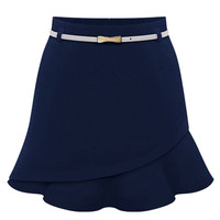 Navy Blue High Waist Belted Skirt