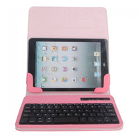 Bluetooth Keyboard with Leather Protective Case for iPad Mini, IOS/Android 7/8 Tablet PC Pink - Default