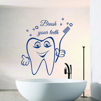 Wall Decals Cute Tooth Words Brush Your Teeth Home Vinyl Decal Sticker Kids Nursery Baby Room Decor kk687