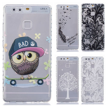Skid Clear pattern soft TPU Case For Huawei Ascend P9 Huawei P9 Case Back Protect Skin Rubber Phone Cover Silicone Gel Case