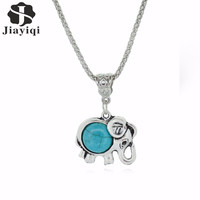 Trendy Elephant Necklace Silver Metal Turquoise Jewelry