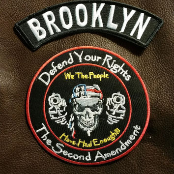 BROOKLYN and Defend Your Rights Small Badges Set for Biker Vest