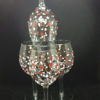 Hearts and Dots Hand Painted Wine Glasses-Engine Red Hearts with Black and White Dots-Set of 4-Barware-Stemware-Home Decor-Unique-Gift-