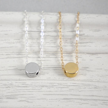 Dot necklace, available in gold or silver, tiny round bead necklace